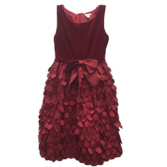 The Childrens Place Girls Sz 10 Red Velvet Dress